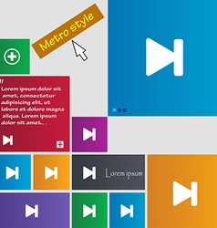 Next track icon sign metro style buttons modern vector