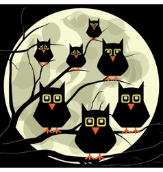 Owls on a branch vector image vector image