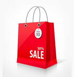 Shopping paper red bag vector image