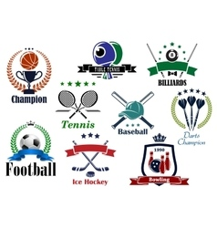 Sporting icons and emblems with heraldic elements vector image vector image
