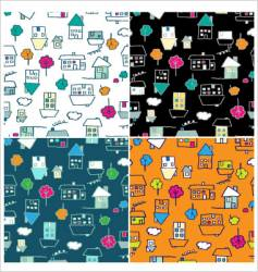 doodle houses seamless vector image