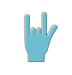 Hand with rock symbol and musical signals vector
