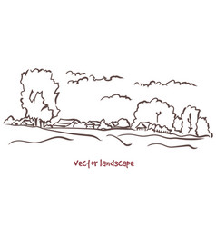 handwritten sketch of rural landscape vector image