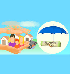 insurance horizontal banner cartoon style vector image