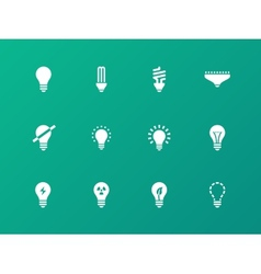 Light bulb and CFL lamp icons on green background vector image