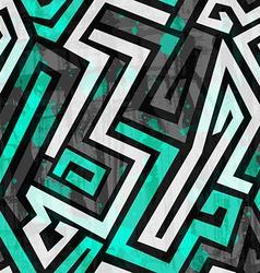 Urban blue maze seamless pattern with grunge vector