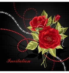 Beautiful bouquet of roses with beads vector image vector image