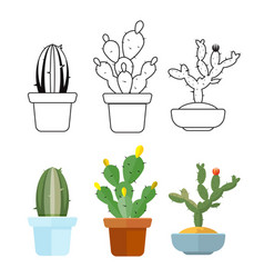 cartoon and outline cactus set icons vector image vector image