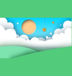 cartoon landscape road sun hill vector image vector image