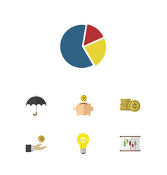 flat icon finance set of parasol money box cash vector image