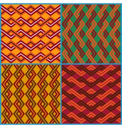 Four seamless ornaments on ethnic motifs vector