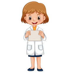 girl in science gown holding white paper vector image