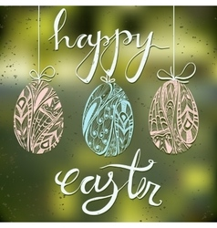 Happy Easter card with blurred background and vector image