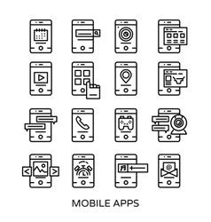 Mobile Application Line Icon Set vector image