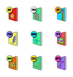 multimedia file icons set cartoon style vector image