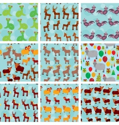 Set of 9 seamless pattern with funny farm animals vector image