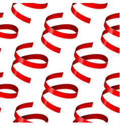 shiny red ribbons seamless pattern vector image vector image