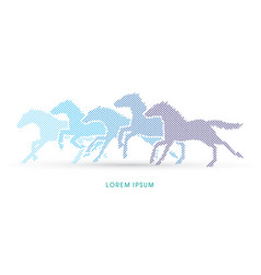 5 horses running vector image