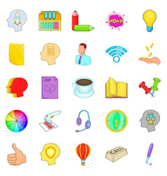 Advertising agency icons set cartoon style vector
