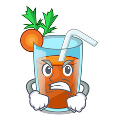 Angry fresh smoothie carrot in cartoon table vector