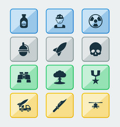 Army icons set collection of chopper bombshell vector