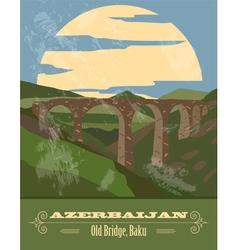 Azerbaijan landmarks Retro styled image vector image