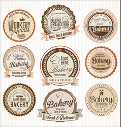 Bakery retro vintage badges collection vector