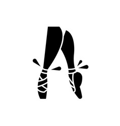 ballet pointe shoes black icon sign on vector image