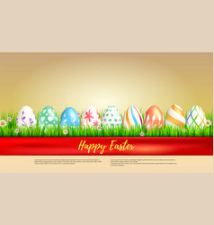 Banner with easter eggs wrapped in red ribbon vector