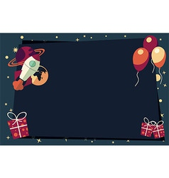 Banners with balloons presents rocket ship vector