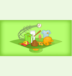 Baseball horizontal banner cartoon style vector