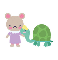 bashower cute little female bear and turtle vector image