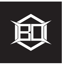 bd logo monogram with hexagon and four taper vector image