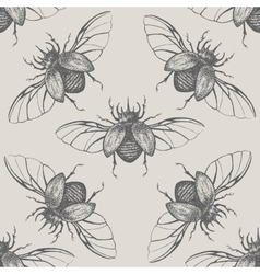 Beetles with wings vintage seamless pattern vector image