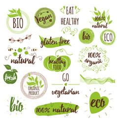 bio ecology organic logos icons labels tags vector image