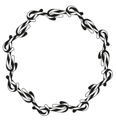 Black and white candy cane wreath silhouette vector