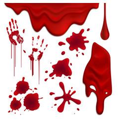 Blood blots realistic set vector