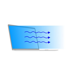 Blue light that radiates from laptop vector