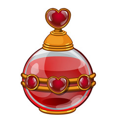Bottle with perfume or elixir and heart vector