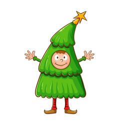 Boy wearing christmas tree costume vector