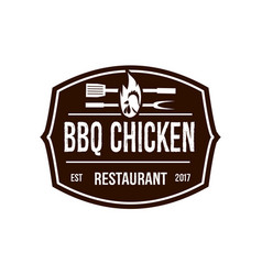 Brown bbq chicken logo vector