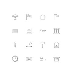 buildings and constructions linear thin icons set vector image