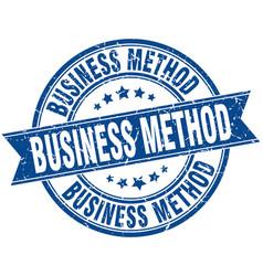 Business method round grunge ribbon stamp vector