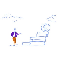 businessman go up ladder stairs dollar coin podium vector image