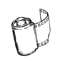 camera roll sketch hand drawn vector image