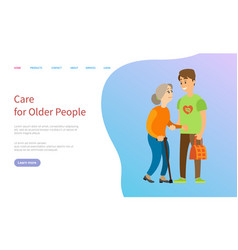 care for older people volunteer with old lady vector image