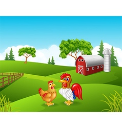 Cartoon chicken rooster in the farm vector
