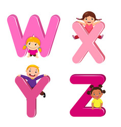 Cartoon kids with wxyz letters vector