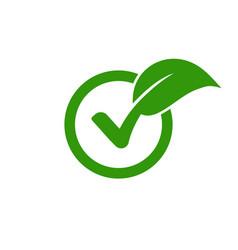 Check leaf logo vegetarian quality ecology vegan vector