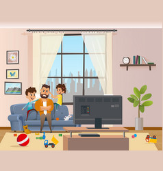 children messing around tired annoyed angry father vector image
